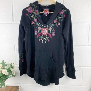 Johnny Was Black Embroidered Floral Hoodie Size M